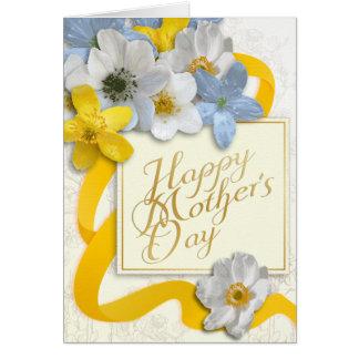 El día de madre feliz - oro, almendra, amarilla tarjeta de felicitación