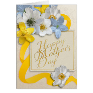 El día de madre feliz - oro, almendra, amarillo 2 tarjeta de felicitación