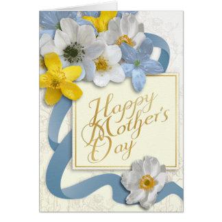 El día de madre feliz - oro, almendra, azul tarjeta de felicitación