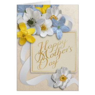 El día de madre feliz - oro, almendra, blanca tarjeta de felicitación