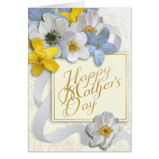 El día de madre feliz - oro, almendra, blanco 2 tarjeta de felicitación