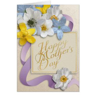 El día de madre feliz - oro, almendra, lila tarjeta de felicitación