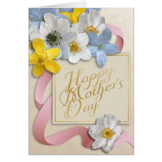 El día de madre feliz - oro, almendra, rosada tarjeta de felicitación
