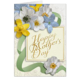 El día de madre feliz - oro, almendra, sabio tarjeta de felicitación