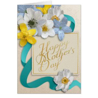 El día de madre feliz - oro, almendra, trullo tarjeta de felicitación