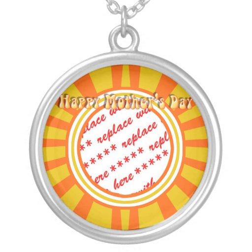 El día de madre feliz - oro/marco retro anaranjado collar