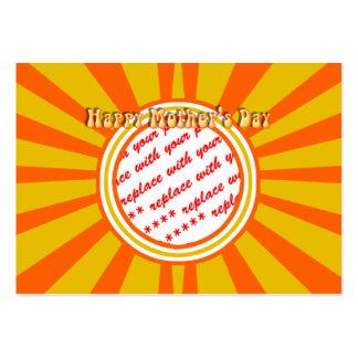 El día de madre feliz - oro/marco retro anaranjado tarjetas de visita grandes
