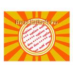 El día de madre feliz - oro/marco retro anaranjado tarjetas postales