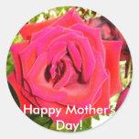 """¡El """"día de madre feliz! """" Pegatinas Redondas"""