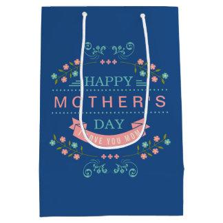 El día de madre feliz - rosa elegante de la crema bolsa de regalo mediana