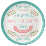 El día de madre feliz - rosa elegante de la crema platos de cerámica