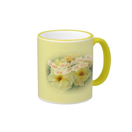 El día de madre feliz - rosas amarillos tazas