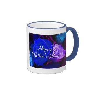 El día de madre feliz V color de rosa púrpura azul Taza De Dos Colores