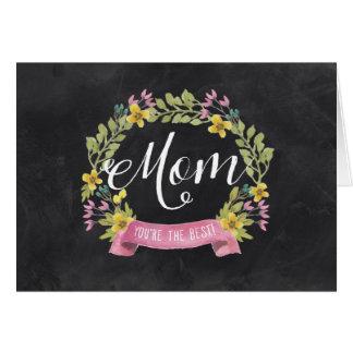 El día de madre floral de la pizarra el | tarjeta de felicitación