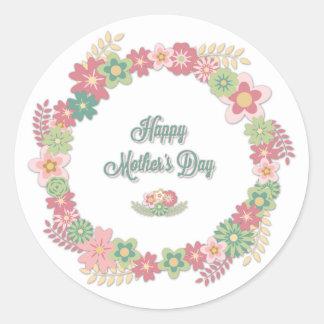 """El día de madre """"guirnalda floral feliz del día de pegatina redonda"""
