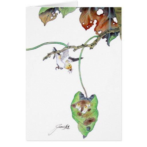 El día de madre - pájaros de bebé tarjeta de felicitación