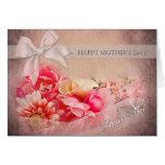 El día de madre - PAL secreto - flores rosadas Tarjetón