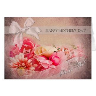 El día de madre - PAL secreto - flores rosadas Tarjeta De Felicitación