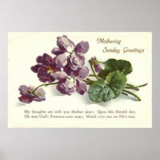 El día de madre púrpura de domingo del rezo de la  póster