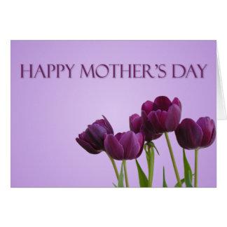 El día de madre púrpura de los tulipanes tarjeta de felicitación