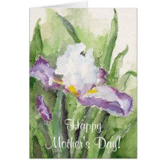 El día de madre suave del iris de la acuarela tarjetas