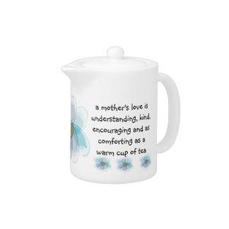 """El día de madre tetera floral azul """"de un amor de"""