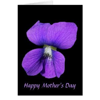 El día de madre violeta púrpura tarjeta de felicitación