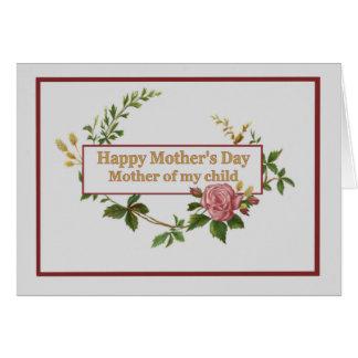 El día de madres para la madre de mi niño, vintage tarjeta de felicitación