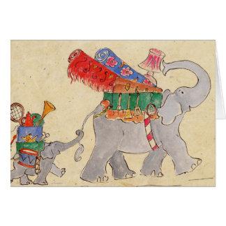 El día de mudanza de los elefantes tarjeta de felicitación