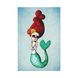 El Dia de Muertos Mermaid Stretched Canvas Print