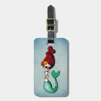 El Dia de Muertos Mermaid Etiquetas De Maletas