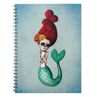 El Dia de Muertos Mermaid Libros De Apuntes Con Espiral