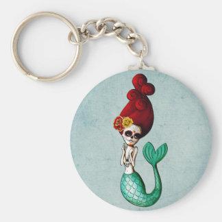 El Dia de Muertos Mermaid Llavero Personalizado