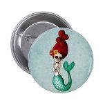 El Dia de Muertos Mermaid Pin Redondo De 2 Pulgadas