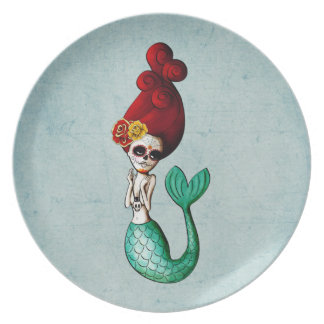 El Dia de Muertos Mermaid Plato De Cena