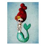 El Dia de Muertos Mermaid Postales