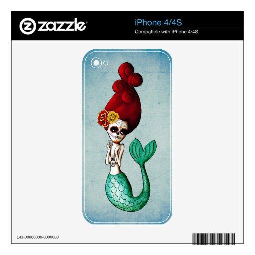 El Dia de Muertos Mermaid Decal For iPhone 4S