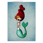 El Dia de Muertos Mermaid Tarjetas