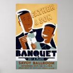 El día de padre afroamericano y banquete del hijo poster
