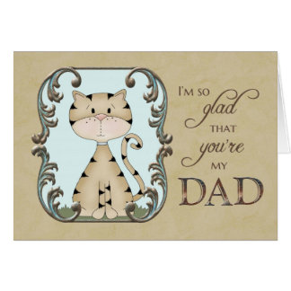 El día de padre - alegre usted es mi papá - gato tarjeta de felicitación