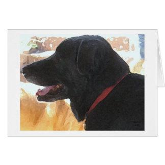 El día de padre - amante negro del perro de Labrad Tarjeton