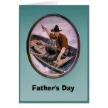 El día de padre - barco de pesca tarjeta