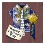 El día de padre - camisa de la tierra de los papás invitación 13,3 cm x 13,3cm