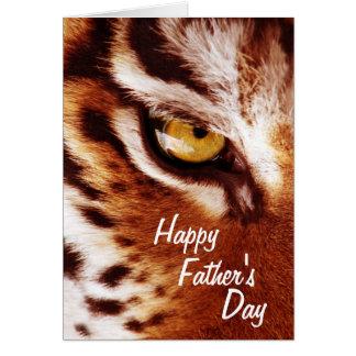 El día de padre de la fotografía del ojo del tigre tarjeta de felicitación
