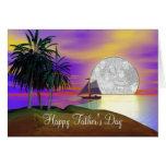 El día de padre de la vela de la puesta del sol (m tarjetas