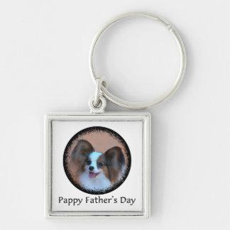 El día de padre de Pappy Llavero Cuadrado Plateado