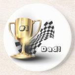 El día de padre del papá del número uno del trofeo posavasos personalizados