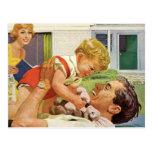 El día de padre del vintage, papá feliz y muchacho tarjeta postal