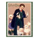 El día de padre del vintage postal