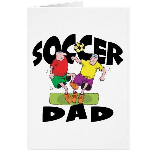 El día de padre divertido del papá del fútbol tarjeta de felicitación
